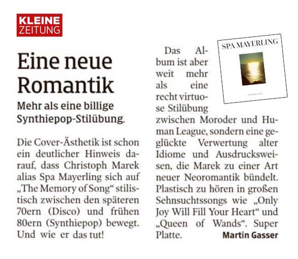 Artikel SPA MAYERLING in Kleine Zeitung